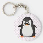 Pinguim branco preto bonito e bigode engraçado chaveiros