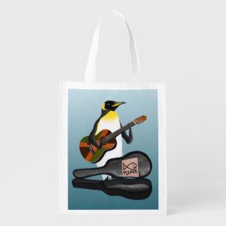 Pinguim Busking Sacola Reusável