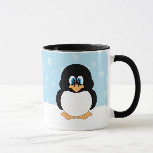 Pinguim com caneca dos flocos de neve