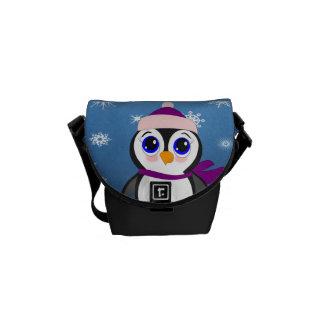Pinguim com chapéu bolsas mensageiro