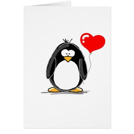 Pinguim com um balão do coração cartão