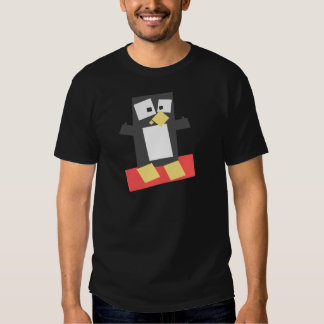 Pinguim dado forma quadrado dos desenhos animados camiseta