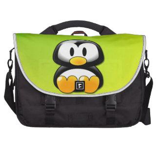 Pinguim de assento adorável dos desenhos animados pasta para laptop