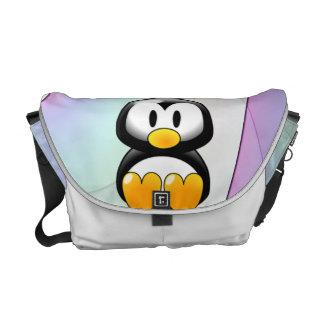 Pinguim de assento adorável dos desenhos animados bolsas mensageiro