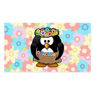 Pinguim de Hula dos desenhos animados com flores Cartão De Visita