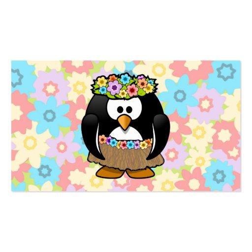 Pinguim de Hula dos desenhos animados com flores Cartoes De Visita