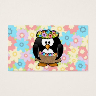 Pinguim de Hula dos desenhos animados com flores Cartão De Visitas