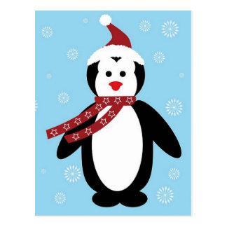 pinguim de natal cartão postal