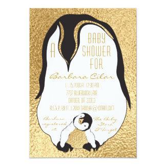 Pinguim do bebê & das mamães do ouro do convite do