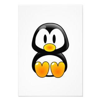 Pinguim do bebê dos desenhos animados convites personalizados