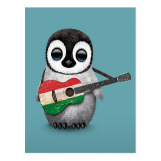 Pinguim do bebê que joga o azul húngaro da cartão postal