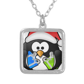 Pinguim do Natal Colar Banhado A Prata