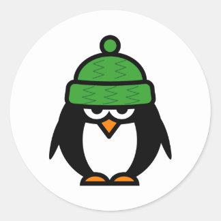 Pinguim do Natal com etiquetas dos desenhos Adesivos Em Formato Redondos