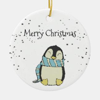 Pinguim do Natal Ornamento De Cerâmica