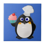 Pinguim do padeiro com cupcake azulejo quadrado pequeno
