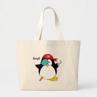 Pinguim do pirata sacola tote jumbo