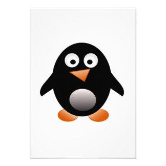 Pinguim dos desenhos animados convites personalizados
