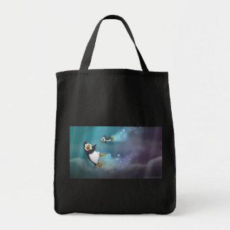 Pinguim e criança bolsas para compras