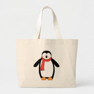 Pinguim envolvido no lenço vermelho sacola tote jumbo