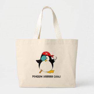 Pinguim legal do pirata sacola tote jumbo