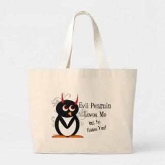 Pinguim mau na sacola do amor bolsas