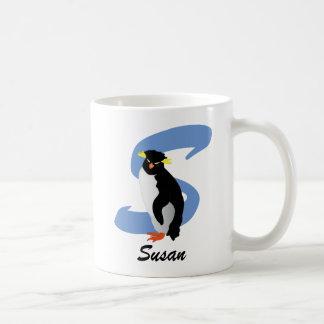 Pinguim Monogrammed com nome & inicial Caneca De Café