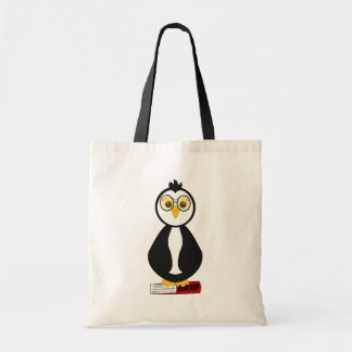 Pinguim Nerdy bonito do leitor ávido Sacola Tote Budget