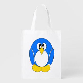 Pinguim no azul sacolas ecológicas