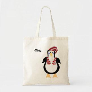 Pinguim vestido inverno bolsa tote