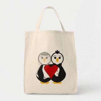 Pinguins casados no amor bolsas para compras