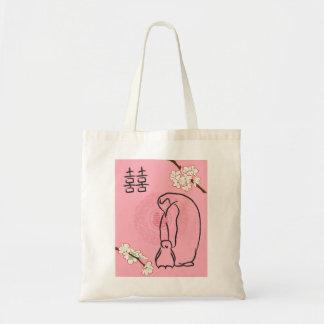 pinguins da flor de cerejeira bolsa tote