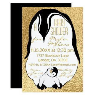 Pinguins do bebê & das mamães do ouro do convite