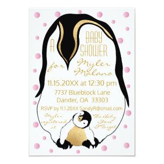 Pinguins do bebê & das mamães do rosa do convite
