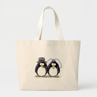 Pinguins dos noivos sacola tote jumbo