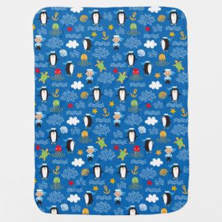 Pinguins e marinheiros cobertores para bebe