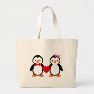 Pinguins no amor bolsa de lona