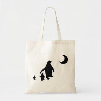 Pinguins no luar antárctico bolsas de lona