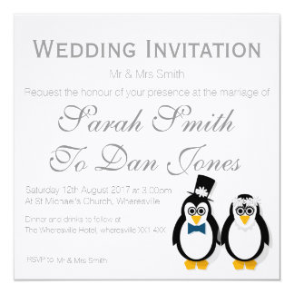Pinguins que Wedding o convite (Customisable)
