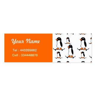 Pinguins Skateboarding Cartão De Visita Skinny
