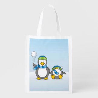 Pinguins Snowballing Sacolas Ecológicas