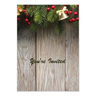 Pinhos e grão de madeira convite 12.7 x 17.78cm