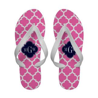 Pink 2 monograma inicial do marinho 3 brancos flip-flops