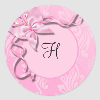 Pink Damask Ribbon Butterfly Wedding Seal Round Stickers