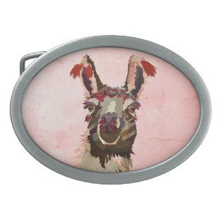 Pink Llama Belt Buckle