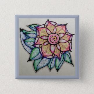 Pino de desenho da flor, (2 polegadas) bóton quadrado 5.08cm