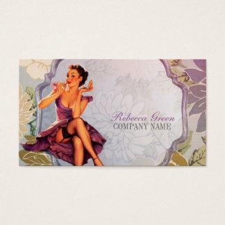 pino do vintage acima do maquilhador da menina cartão de visitas