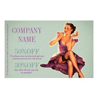 pino do vintage acima do maquilhador do salão de panfleto personalizados