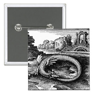 pino-partes traseiras da serpente dos ouroboros bóton quadrado 5.08cm