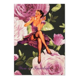 pino retro floral roxo do vintage acima da menina convite 12.7 x 17.78cm