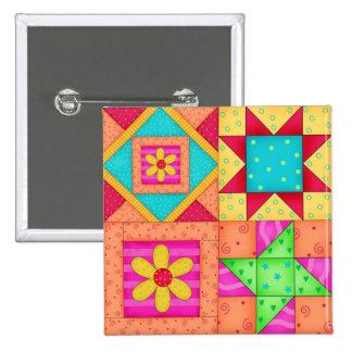 Pinos coloridos do bloco da edredão de retalhos 4 bóton quadrado 5.08cm